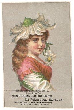 "<em>""Tradecard. Hamilton's Men Furnishing Goods. 513 Fulton Street. Brooklyn, NY. Recto.""</em>. Printed material, 3 x 4.5 in (7.7 x 11.5 cm). Brooklyn Museum, CHART_2012. (HF5841_C59_v1_p10_tradecard03_recto.jpg"
