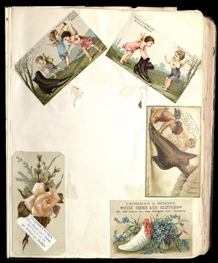"<em>""Full view of scrapbook page. Includes 5 tradecards for Brooklyn businesses: Edwin C. Burt & Co., James M. Meade, Crossman & Bergen.""</em>. Printed material, 10 x 12.25 in (25.4 x 31.1 cm). Brooklyn Museum, CHART_2012. (HF5841_C59_v1_p11.jpg"