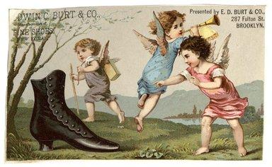 "<em>""Tradecard. Edwin C. Burt & Co. 287 Fulton Street. Brooklyn, NY. Recto.""</em>. Printed material, 4.425 x 2.75 in (11.2 x 7 cm). Brooklyn Museum, CHART_2012. (HF5841_C59_v1_p11_tradecard01_recto.jpg"