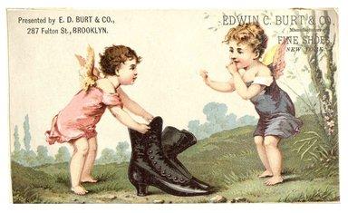 "<em>""Tradecard. Edwin C. Burt & Co. 287 Fulton Street. Brooklyn, NY. Recto.""</em>. Printed material, 4.425 x 2.75 in (11.2 x 7 cm). Brooklyn Museum, CHART_2012. (HF5841_C59_v1_p11_tradecard02_recto.jpg"