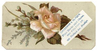 "<em>""Tradecard. Crossman & Bergen. 599 Fulton Street. Brooklyn, NY. Recto.""</em>. Printed material, 5.25 x 2.75 in (13.3 x 7 cm). Brooklyn Museum, CHART_2012. (HF5841_C59_v1_p11_tradecard04_recto.jpg"