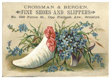 "<em>""Tradecard. Crossman & Bergen. 599 Fulton Street. Brooklyn, NY. Recto.""</em>. Printed material, 4.2 x 3 in (10.6 x 7.6 cm). Brooklyn Museum, CHART_2012. (HF5841_C59_v1_p11_tradecard05_recto.jpg"