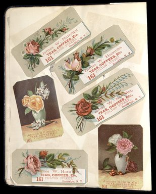 "<em>""Full view of scrapbook page. Includes 6 tradecards for Brooklyn business: James W. Hamblet.""</em>. Printed material, 10 x 12.25 in (25.4 x 31.1 cm). Brooklyn Museum, CHART_2012. (HF5841_C59_v1_p12.jpg"