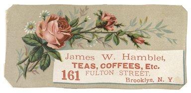 "<em>""Tradecard. James W. Hamblet. 161 Fulton Street. Brooklyn, NY. Recto.""</em>. Printed material, 5.5 x 2.5 in (14 x 6.8 cm). Brooklyn Museum, CHART_2012. (HF5841_C59_v1_p12_tradecard01_recto.jpg"