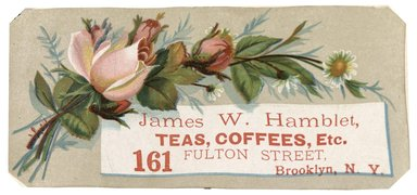 "<em>""Tradecard. James W. Hamblet. 161 Fulton Street. Brooklyn, NY. Recto.""</em>. Printed material, 5.5 x 2.5 in (14 x 6.8 cm). Brooklyn Museum, CHART_2012. (HF5841_C59_v1_p12_tradecard02_recto.jpg"