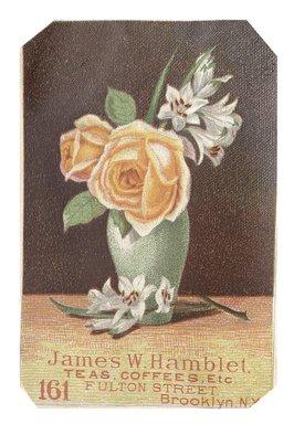 "<em>""Tradecard. James W. Hamblet. 161 Fulton Street. Brooklyn, NY. Recto.""</em>. Printed material, 3 x 4.6 in (8 x 11.7 cm). Brooklyn Museum, CHART_2012. (HF5841_C59_v1_p12_tradecard03_recto.jpg"