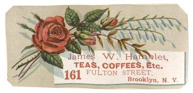 "<em>""Tradecard. James W. Hamblet. 161 Fulton Street. Brooklyn, NY. Recto.""</em>. Printed material, 5.5 x 2.5 in (14 x 6.8 cm). Brooklyn Museum, CHART_2012. (HF5841_C59_v1_p12_tradecard04_recto.jpg"