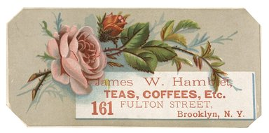 "<em>""Tradecard. James W. Hamblet. 161 Fulton Street. Brooklyn, NY. Recto.""</em>. Printed material, 5.5 x 2.5 in (14 x 6.8 cm). Brooklyn Museum, CHART_2012. (HF5841_C59_v1_p12_tradecard05_recto.jpg"