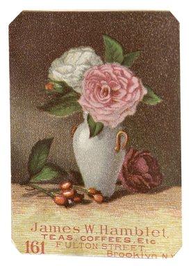 "<em>""Tradecard. James W. Hamblet. 161 Fulton Street. Brooklyn, NY. Recto.""</em>. Printed material, 3 x 4.6 in (8 x 11.7 cm). Brooklyn Museum, CHART_2012. (HF5841_C59_v1_p12_tradecard06_recto.jpg"