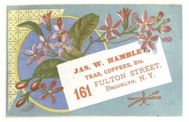 "<em>""Tradecard. James W. Hamblet. 161 Fulton Street. Brooklyn, NY. Recto.""</em>. Printed material, 4.3 x 2.8 in (11 x 7.1 cm). Brooklyn Museum, CHART_2012. (HF5841_C59_v1_p13_tradecard01_recto.jpg"