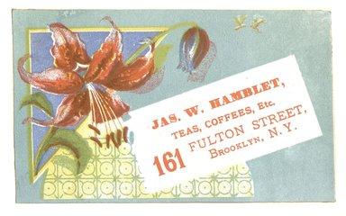 "<em>""Tradecard. James W. Hamblet. 161 Fulton Street. Brooklyn, NY. Recto.""</em>. Printed material, 4.3 x 2.8 in (11 x 7.1 cm). Brooklyn Museum, CHART_2012. (HF5841_C59_v1_p13_tradecard02_recto.jpg"
