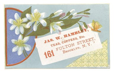 "<em>""Tradecard. James W. Hamblet. 161 Fulton Street. Brooklyn, NY. Recto.""</em>. Printed material, 4.3 x 2.8 in (11 x 7.1 cm). Brooklyn Museum, CHART_2012. (HF5841_C59_v1_p13_tradecard03_recto.jpg"
