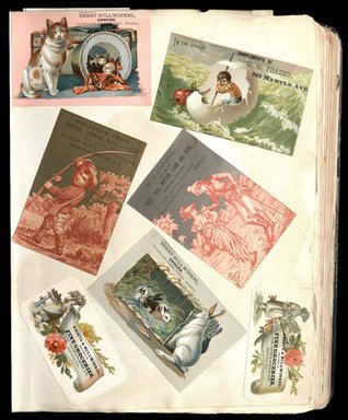 """<em>""""Full view of scrapbook page. Includes 7 tradecards for Brooklyn businesses: Henry Bullwinkel, W.G. Frazer, Phillips Bros., W. R. Browne, Kriete & Bullwinkel""""</em>. Printed material, 10 x 12.25 in (25.4 x 31.1 cm). Brooklyn Museum, CHART_2012. (HF5841_C59_v1_p15.jpg"""