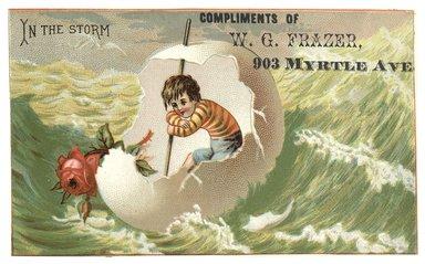 "<em>""Tradecard. W. G. Frazer. 903 Myrtle Avenue. Brooklyn, NY. Recto.""</em>. Printed material, 4.6 x 3 in (11.8 x 7.4 cm). Brooklyn Museum, CHART_2012. (HF5841_C59_v1_p15_tradecard02_recto.jpg"