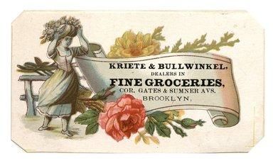 "<em>""Tradecard. Kriete & Bullwinkel. Cor Gates & Sumner Avenues. Brooklyn, NY. Recto.""</em>. Printed material, 3.8 x 2.3 in (10 x 6 cm). Brooklyn Museum, CHART_2012. (HF5841_C59_v1_p15_tradecard05_recto.jpg"