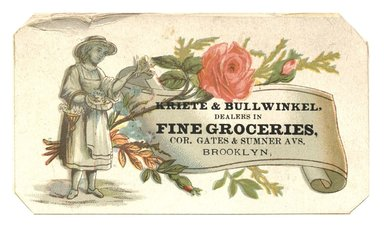 "<em>""Tradecard. Kriete & Bullwinkel. Cor Gates & Sumner Avenues. Brooklyn, NY. Recto.""</em>. Printed material, 3.8 x 2.3 in (10 x 6 cm). Brooklyn Museum, CHART_2012. (HF5841_C59_v1_p15_tradecard07_recto.jpg"