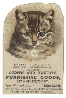 "<em>""Tradecard. Edw Learey. 617 & 619 Fulton Street. Brooklyn, NY. Recto.""</em>. Printed material, 2 x 3 in (5.2 x 7.8 cm). Brooklyn Museum, CHART_2012. (HF5841_C59_v1_p30_tradecard01_recto.jpg"