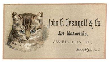 "<em>""Tradecard. John C. Grennell & Co. Art Materials. 536 Fulton Street. Brooklyn, NY. Recto.""</em>. Printed material, 4.45 x 2.5 in (11.2 x 6.5 cm). Brooklyn Museum, CHART_2012. (HF5841_C59_v1_p30_tradecard02_recto.jpg"