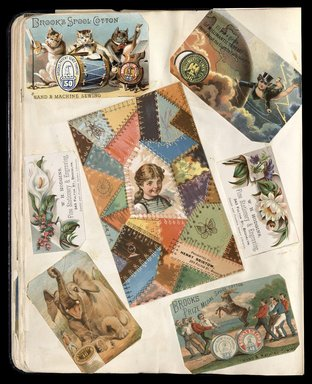 "<em>""Full view of scrapbook page. Includes 3 tradecards for Brooklyn businesses: W. H. Hodgins, Henry Bristow.""</em>. Printed material, 10 x 12.25 in (25.4 x 31.1 cm). Brooklyn Museum, CHART_2012. (HF5841_C59_v1_p32.jpg"