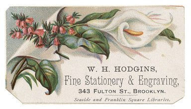 "<em>""Tradecard. W. H. Hodgins. Fine Stationary & Engraving. 343 Fulton Street. Brooklyn, NY. Recto.""</em>. Printed material, 3.5 x 2 in (8.9 x 5.15 cm). Brooklyn Museum, CHART_2012. (HF5841_C59_v1_p32_tradecard01_recto.jpg"
