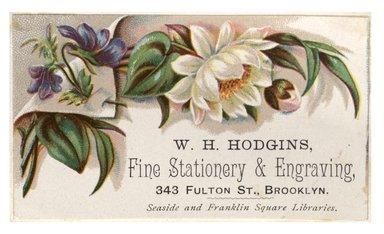 "<em>""Tradecard. W. H. Hodgins. Fine Stationary & Engraving. 343 Fulton Street. Brooklyn, NY. Recto.""</em>. Printed material, 3.5 x 2 in (8.9 x 5.15 cm). Brooklyn Museum, CHART_2012. (HF5841_C59_v1_p32_tradecard03_recto.jpg"