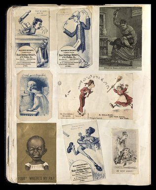 """<em>""""Full view of scrapbook page. Includes 3 tradecards for Brooklyn business: Maurice Ruben.""""</em>. Printed material, 10 x 12.25 in (25.4 x 31.1 cm). Brooklyn Museum, CHART_2012. (HF5841_C59_v1_p34.jpg"""