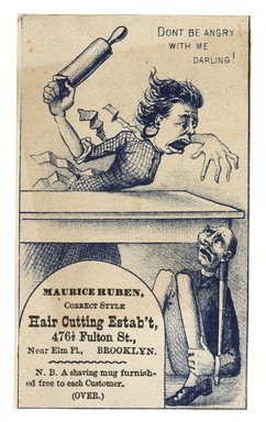"<em>""Tradecard. Maurice Ruben. Haircutting Establishment. 476 1/2 Fulton Street. Brooklyn, NY. Recto.""</em>. Printed material, 2.7 x 4.3 in (6.9 x 10.9 cm). Brooklyn Museum, CHART_2012. (HF5841_C59_v1_p34_tradecard01_recto.jpg"