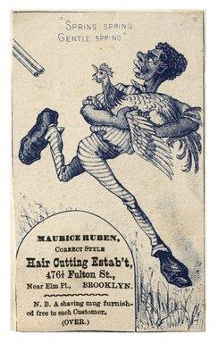 "<em>""Tradecard. Maurice Ruben. Haircutting Establishment. 476 1/2 Fulton Street. Brooklyn, NY. Recto.""</em>. Printed material, 2.7 x 4.3 in (6.9 x 10.9 cm). Brooklyn Museum, CHART_2012. (HF5841_C59_v1_p34_tradecard03_recto.jpg"
