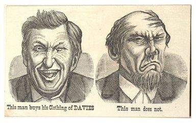 "<em>""Tradecard. J. L. Davies, Clothier. 172 Bridge Street. Brooklyn, NY. Recto.""</em>. Printed material, 5 x 3.125 in (12.6 x 8 cm). Brooklyn Museum, CHART_2012. (HF5841_C59_v1_p67_tradecard_01_recto.jpg"