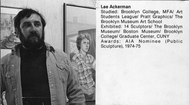 "<em>""Brooklyn Museum Art School faculty. Lee Ackerman, ca 1979.""</em>, 1979. Bw photographic print. Brooklyn Museum, Art School. (Photo: Brooklyn Museum, MAS_Vfacultyi001.jpg"