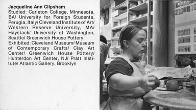 "<em>""Brooklyn Museum Art School faculty. Jacqueline Ann Clipsham, ca. 1979.""</em>, 1979. Bw photographic print. Brooklyn Museum, Art School. (Photo: Brooklyn Museum, MAS_Vfacultyi003.jpg"