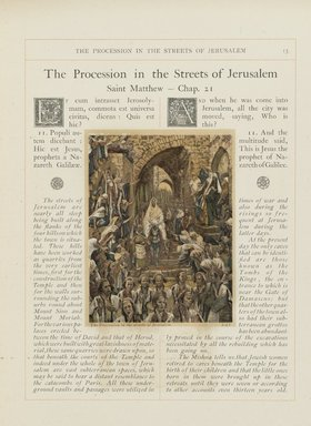"<em>""The Procession in the Streets of Jerusalem""</em>. Printed material. Brooklyn Museum. (N200_T52_A1Lau_Tissot_Life_of_Christ_v3_p013_PS2.jpg"