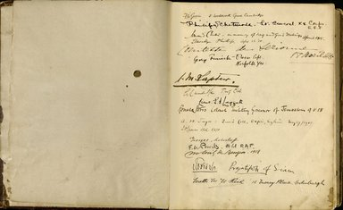 "<em>""Maurice Nahman visitor book (1918-1977). Signature page.""</em>. Manuscript. Brooklyn Museum. (Photo: Brooklyn Museum, N362_N14_Nahman_visitor_book_p03-04.jpg"