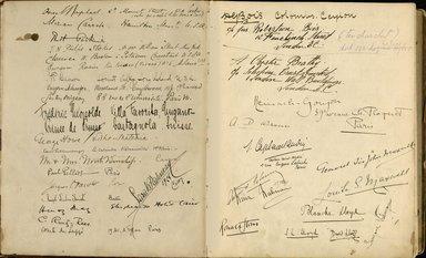 "<em>""Maurice Nahman visitor book (1918-1977). Signature page.""</em>. Manuscript. Brooklyn Museum. (Photo: Brooklyn Museum, N362_N14_Nahman_visitor_book_p05-06.jpg"