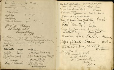 "<em>""Maurice Nahman visitor book (1918-1977). Signature page.""</em>. Manuscript. Brooklyn Museum. (Photo: Brooklyn Museum, N362_N14_Nahman_visitor_book_p07-08.jpg"