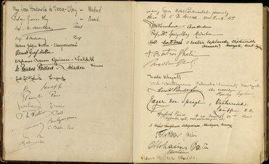 "<em>""Maurice Nahman visitor book (1918-1977). Signature page.""</em>. Manuscript. Brooklyn Museum. (Photo: Brooklyn Museum, N362_N14_Nahman_visitor_book_p13-14.jpg"