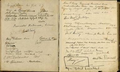 "<em>""Maurice Nahman visitor book (1918-1977). Signature page.""</em>. Manuscript. Brooklyn Museum. (Photo: Brooklyn Museum, N362_N14_Nahman_visitor_book_p19-20.jpg"
