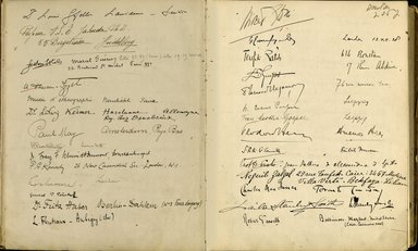 "<em>""Maurice Nahman visitor book (1918-1977). Signature page.""</em>. Manuscript. Brooklyn Museum. (Photo: Brooklyn Museum, N362_N14_Nahman_visitor_book_p21-22.jpg"