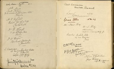 "<em>""Maurice Nahman visitor book (1918-1977). Signature page.""</em>. Manuscript. Brooklyn Museum. (Photo: Brooklyn Museum, N362_N14_Nahman_visitor_book_p27-28.jpg"