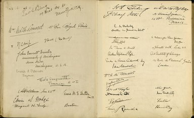 "<em>""Maurice Nahman visitor book (1918-1977). Signature page.""</em>. Manuscript. Brooklyn Museum. (Photo: Brooklyn Museum, N362_N14_Nahman_visitor_book_p29-30.jpg"