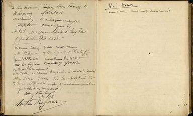 "<em>""Maurice Nahman visitor book (1918-1977). Signature page.""</em>. Manuscript. Brooklyn Museum. (Photo: Brooklyn Museum, N362_N14_Nahman_visitor_book_p31-32.jpg"