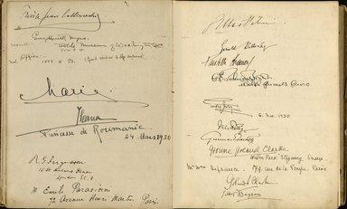 "<em>""Maurice Nahman visitor book (1918-1977). Signature page.""</em>. Manuscript. Brooklyn Museum. (Photo: Brooklyn Museum, N362_N14_Nahman_visitor_book_p33-34.jpg"