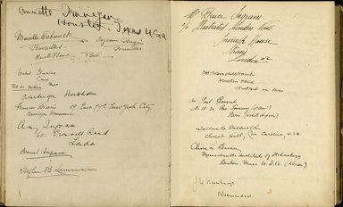 "<em>""Maurice Nahman visitor book (1918-1977). Signature page.""</em>. Manuscript. Brooklyn Museum. (Photo: Brooklyn Museum, N362_N14_Nahman_visitor_book_p35-36.jpg"