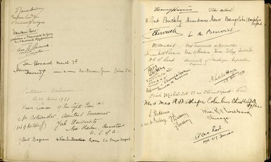 "<em>""Maurice Nahman visitor book (1918-1977). Signature page.""</em>. Manuscript. Brooklyn Museum. (Photo: Brooklyn Museum, N362_N14_Nahman_visitor_book_p37-38.jpg"