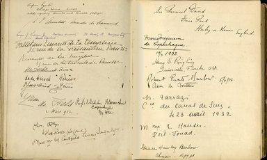 "<em>""Maurice Nahman visitor book (1918-1977). Signature page.""</em>. Manuscript. Brooklyn Museum. (Photo: Brooklyn Museum, N362_N14_Nahman_visitor_book_p39-40.jpg"