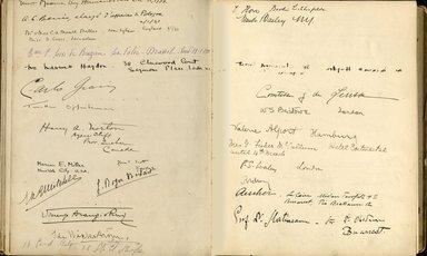 "<em>""Maurice Nahman visitor book (1918-1977). Signature page.""</em>. Manuscript. Brooklyn Museum. (Photo: Brooklyn Museum, N362_N14_Nahman_visitor_book_p41-42.jpg"