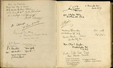 "<em>""Maurice Nahman visitor book (1918-1977). Signature page.""</em>. Manuscript. Brooklyn Museum. (Photo: Brooklyn Museum, N362_N14_Nahman_visitor_book_p43-44.jpg"
