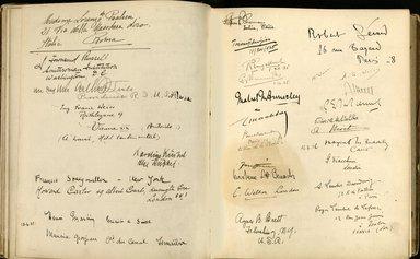 "<em>""Maurice Nahman visitor book (1918-1977). Signature page.""</em>. Manuscript. Brooklyn Museum. (Photo: Brooklyn Museum, N362_N14_Nahman_visitor_book_p51-52.jpg"