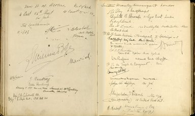 "<em>""Maurice Nahman visitor book (1918-1977). Signature page.""</em>. Manuscript. Brooklyn Museum. (Photo: Brooklyn Museum, N362_N14_Nahman_visitor_book_p55-56.jpg"