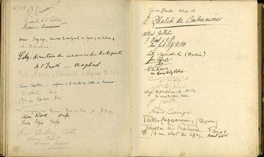 "<em>""Maurice Nahman visitor book (1918-1977). Signature page.""</em>. Manuscript. Brooklyn Museum. (Photo: Brooklyn Museum, N362_N14_Nahman_visitor_book_p57-58.jpg"